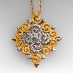 Unique Openwork Diamond Pendant Necklace 18K & 22K Gold Diamond Brooch, Diamond Pendant Necklace, Brilliant Diamond, Jewelry Stores, Jewelry Design, Designer Jewelry, Fine Jewelry, Pendants, Jewels