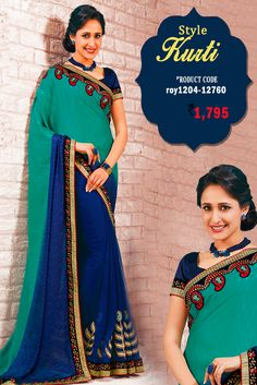 Green and Blue #GeorgetteSaree It's very suitable for parties, wedding sangeet and any occasions where perfect Indian attire is worn with class and elegance #womansari #shopping #ethnicwear #latestcollection #newdesigns #designersaree #onlineweddingwear #fashion #trending