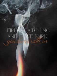 Fire is catching, and if we burn, you burn with us. Can't wait for Catching Fire!!
