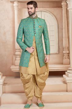 Latest Sky Blue and Golden Color Indo Western Wedding Dresses Men Indian, Wedding Dress Men, Wedding Suits, Wedding Wear, Mens Sherwani, Wedding Sherwani, Kurta Men, Sherwani Groom, Indian Groom Wear