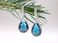 Sapphire blue teardrop stone earrings, Kate Middleton inspired jewelry