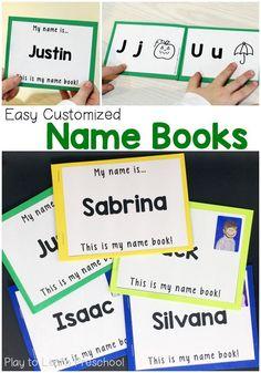 Name Books (Play to Learn Preschool) Preschool Names, Spelling Activities, Preschool Literacy, Letter Activities, Preschool Letters, Preschool Activities, Writing Activities, Preschool Forms, Literacy Games