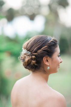 Pretty twisted wedding updo in this Vintage Spring Florida Wedding -Jessica Bordner Photography @jbpbrides