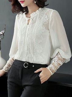 Buy Elegant Blouses For Women from Jade&Cloud at Stylewe. Online Shopping Stylewe Long Sleeve White Black Women Blouses For Work Chiffon Tie-Neck Elegant Elegant Crochet-Trimmed Going Out Blouses, The Best Daytime Blouses. Black Chiffon Blouse, White Cotton Blouse, White Blouses, Look Fashion, Fashion Outfits, Womens Fashion, Silk T Shirt, Mode Hijab, Work Blouse