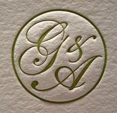 Grace & Arthur Wedding Invitations - Monogram Closeup