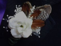pheasant feather boutonniere