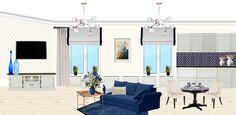 Коллаж гостиной с синим диваном. Mood board living room. Coller interirs.