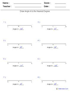 drawing angles to a measurement worksheets angles. Black Bedroom Furniture Sets. Home Design Ideas
