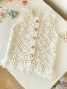 Discover thousands of images about 35 ilmek başlayın dört sıra ha Tops A Crochet, Knit Or Crochet, Crochet For Kids, Crochet Baby, Knitting For Kids, Baby Knitting Patterns, Baby Patterns, Baby Cardigan, Baby Girl Vest
