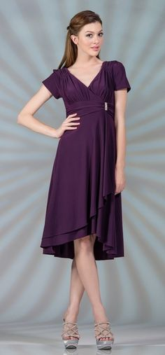 Knee Length Modest Eggplant Choir Dress Short Sleeves V Neckline $82.99