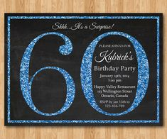 60th birthday invitation. Blue Glitter Birthday Party by arthomer