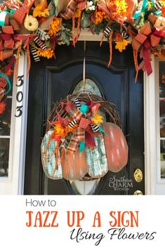 How to jazz up a store bought fall door hanger using paint, silk flowers and ribbon by Southern Charm Wreaths DIY crafts tutorial perfect for fall home decorating Fall Crafts, Diy Crafts, Rustic Crafts, Rustic Art, Wreath Crafts, Wreath Ideas, Fall Lanterns, Fall Door Hangers, Cute Dorm Rooms