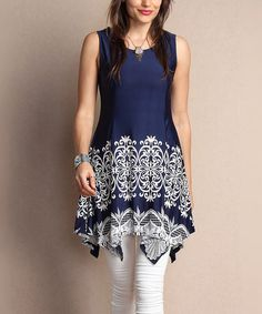 Another great find on #zulily! Navy Lace-Print Sleeveless Handkerchief Tunic - Plus #zulilyfinds