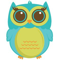 Cute green blue owl
