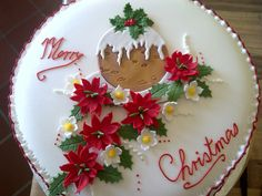 fruit cake with a patch work decoration Christmas Themed Cake, Christmas Cake Designs, Christmas Cake Topper, Christmas Cake Decorations, Holiday Cakes, Christmas Cakes, Easy Christmas Treats, Christmas Baking, Christmas Pudding