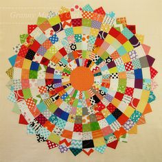A giant scrappy Dresden plate patchwork block. Inspired by Red Pepper Quilts and made by Granny Maud's Girl
