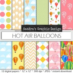 Hot air balloons digital paper , 12 JPEG files at 300 dpi, by SandraGraphicDesign on Etsy