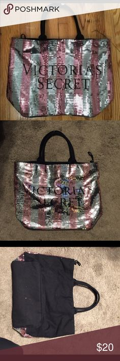 VS sequin tote Victoria's Secret large sequin tote. Been used a few times still in great condition. Victoria's Secret Bags Totes