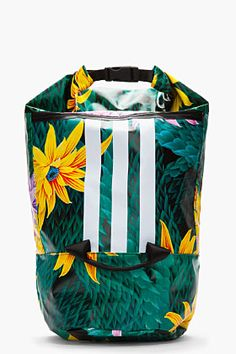 Y-3 Oversize Green Floral Roll-top Beach Backpack