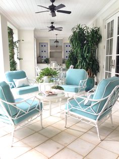 turquoise and white patio