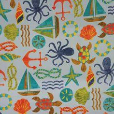 Swavelle Tropix Casual Outdoor Fabric Watercolor Nautical Motifs | Fabric
