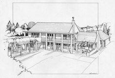 Pen  Steve Garvey  Residence Steve Garvey, Building Sketch, San Diego Padres, Sketch Art, Architecture, Drawings, Illustration, Arquitetura, Sketches