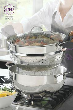 ¡La Olla multiusos de 10 qt. Clásica de Acero Inoxidable Princess Heritage® con vaporera es la mejor olla para cocinar, hervir y escurrir!