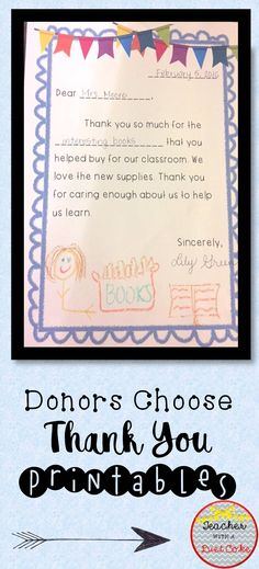 Donors Choose Thank You Printables Notes template, Teacher and - donor list template