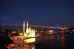 Going for a walk by the Bosphorus on a hot summer night is your best option for a cool down. This picture shows the Bosphorus Bridge from Ortaköy, Istanbul by night.