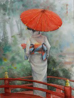 ACUARELISTAS del Bajo Gállego: Geisha con sombrilla roja Japanese Art Styles, Japanese Drawings, Geisha Art, Japan Painting, Background Drawing, Japan Design, Japan Photo, Kokeshi Dolls, Christmas Art