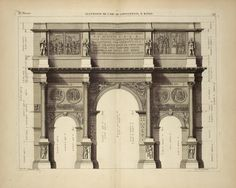 Élèvation de l'arc de Constantin, à Rome. From New York Public Library Digital Collections.