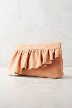 Marie Turnor Ruffle Clutch via Anthropologie Diy Clutch, Diy Tote Bag, Pouch Bag, Clutch Bags, Diy Fashion, Fashion Bags, Best Leather Wallet, Leather Totes, Leather Bags