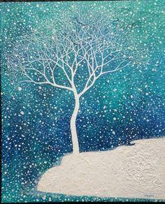 """Saatchi Art Artist Songmi Heart; Snowy Tree Painting, """"The Tree(2)"""" #art"""