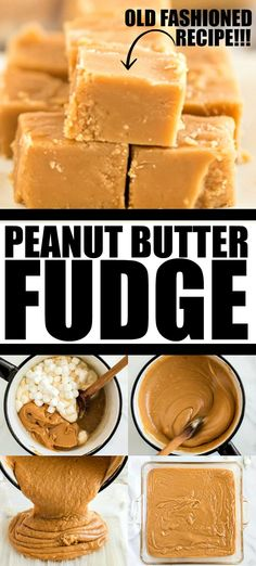 Grandma's Rich, buttery, and creamy this peanut butter fudge is an irresistible homemade candy. It takes only a handful of ingredients and a few minutes to make this classic treat! Fudge Recipes, Candy Recipes, Dessert Recipes, Dessert Party, Homemade Candies, Homemade Desserts, Homemade Butter, Homemade Fudge Easy, Simple Fudge Recipe