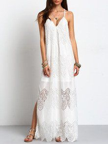 A beautiful white boho maxi dress for summer days. We love the delicate slit cut and beautiful lace. DESCRIPTION Fabric:Fabric has no stretch Season:Summer Pat