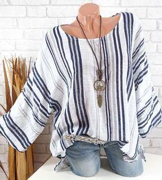 cad23a5ecc594e Tunika Damen Oversize Lagenlook Shirt Streifen Italy Trend weiß 42 44 46  48/50 Gewand