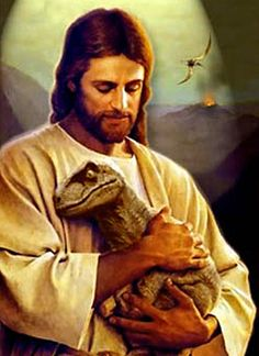 Reinopin: Jesus creating the dinosaurs : Monty Propps / this one goes to Father Guido Sarducci