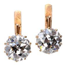 Victorian 5.2 Carat Old European Cut Diamond Gold Earrings | From a unique collection of vintage drop earrings at https://www.1stdibs.com/jewelry/earrings/drop-earrings/