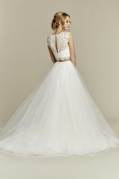 Style 1553 Sunny - Ivory two-piece ball gown, lace crop top with jewel neckline and soft cap sleeve, scallop detail at waist and keyhole back, full tulle skirt with horsehair hem. Also available as a one-piece gown (see style 1561, Sunshine).