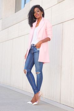 Pink Coat + Tank + Ripped Skinnies