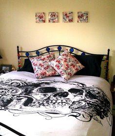 Bedroom decor in Alexander Henry skulls fabric