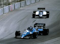 GP F1 USA 1983, Long Beach, Jarier (Ligier) in front of Ceccoto (Theodore)