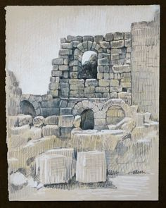 Travel Drawing: Perge, Turkey Inktense and Prismacolor Pencil on Paper x 2016 Travel Drawing, Prismacolor, Mount Rushmore, Turkey, Pencil, Italy, Fine Art, Mountains, Flower