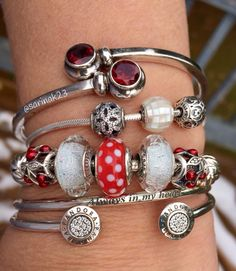 Lovely Red and White Pandora beads for Winter 2016.