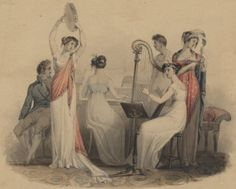 A musical group. From the British Museum. Couple Painting, Woman Painting, Regency Era, Social Activities, Pride And Prejudice, Fashion Plates, British Museum, Historian, Georgian