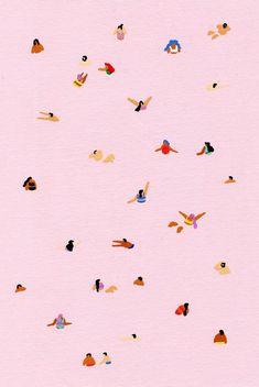 Pink - Art print of original painting by Helo Birdie - swimming - whimsical art - summer - water - pink - pastel - swim - cute - colorful - - Art print of original gouache painting by Helo Birdie – pink – swimming – whimsical art – s - Phone Backgrounds, Wallpaper Backgrounds, Aztec Wallpaper, Eyes Wallpaper, Tumblr Girly, Art Fantaisiste, Art Rose, Whatsapp Wallpaper, Gouache Painting