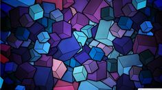 Geometric Abstract Art | ... Purple Cubes Stained Glass Geometric Abstract Art 1366×768 Wallpaper