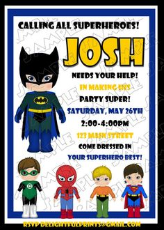 Batman birthday invitation and friends many colors...DIY you print custom photo card by delightfulprints