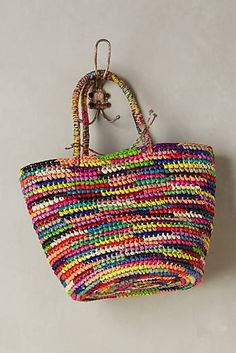 Discover unique Tote Bags at Anthropologie, including the seasons newest arrivals. Tote Handbags, Purses And Handbags, Hello Kitty Crochet, Triangle Bag, Granny Square Crochet Pattern, Crochet Purse Patterns, Crochet Market Bag, Diy Tote Bag, Crochet Tote