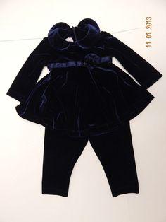 Baby Girls Plum Pudding Navy Blue Velour Velvet Tunic Leggings Set 12 Months #PlumPudding #DressyEverydayHoliday